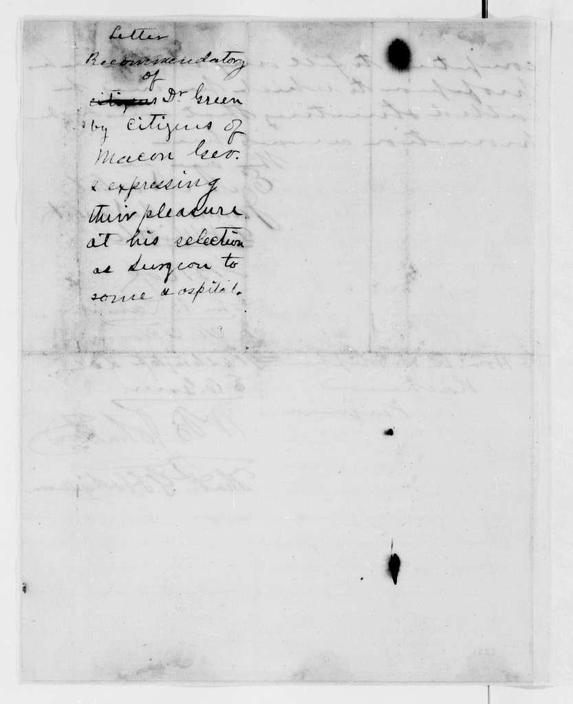 Alexander Hamilton Stephens Papers: General Correspondence, 1784-1886; 1861, Nov. 20-Dec. 27