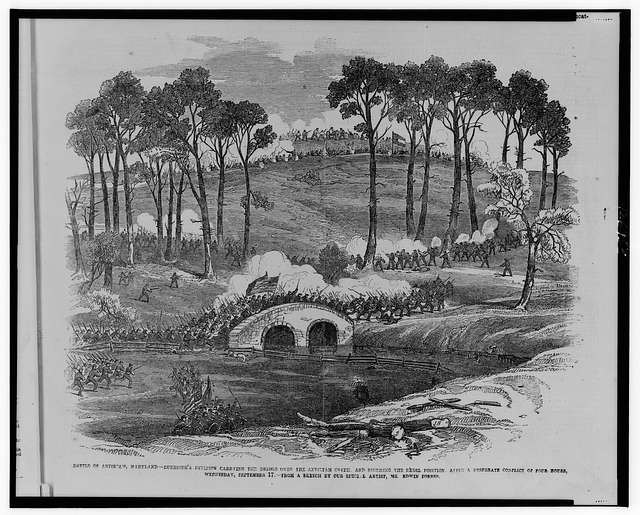 Battle of Antietam, Maryland--Burnside's division carrying the bridge over the Antietam Creek, and storming the Rebel position, after a desperate conflict of four hours, Wednesday, September 17 / from a sketch by our special artist, Mr. Edwin Forbes.