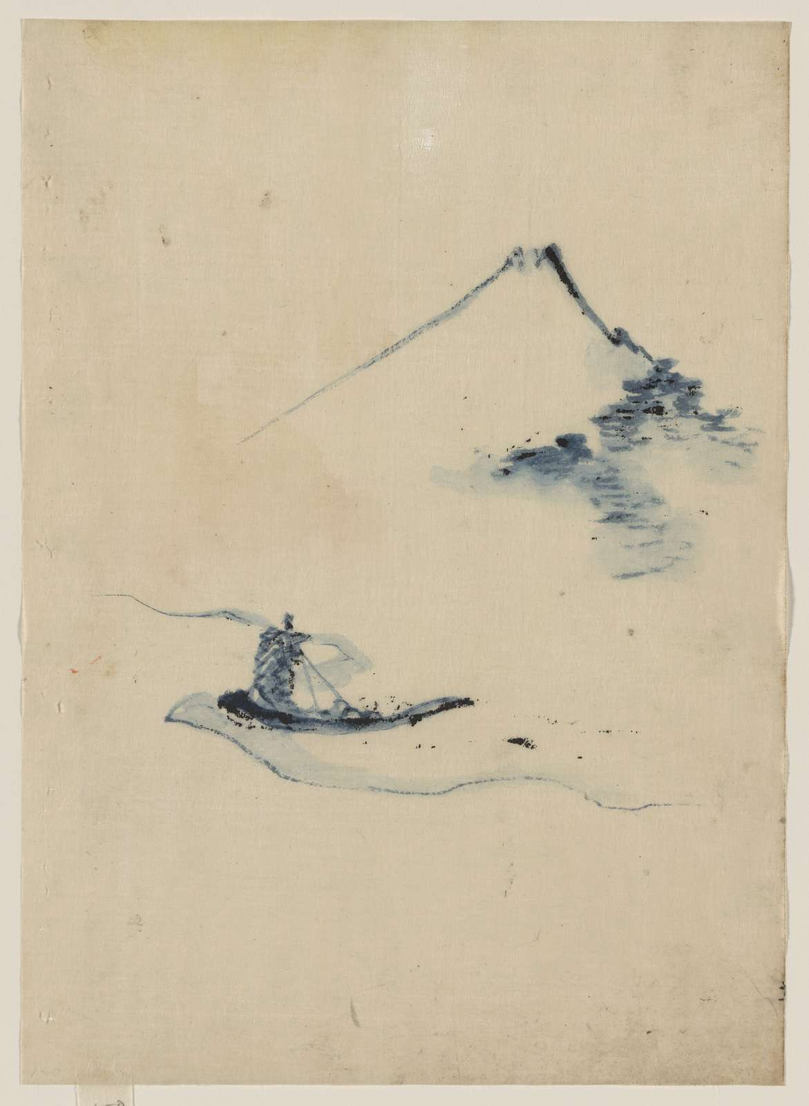 [A person in a small boat on a river with Mount Fuji in the background]