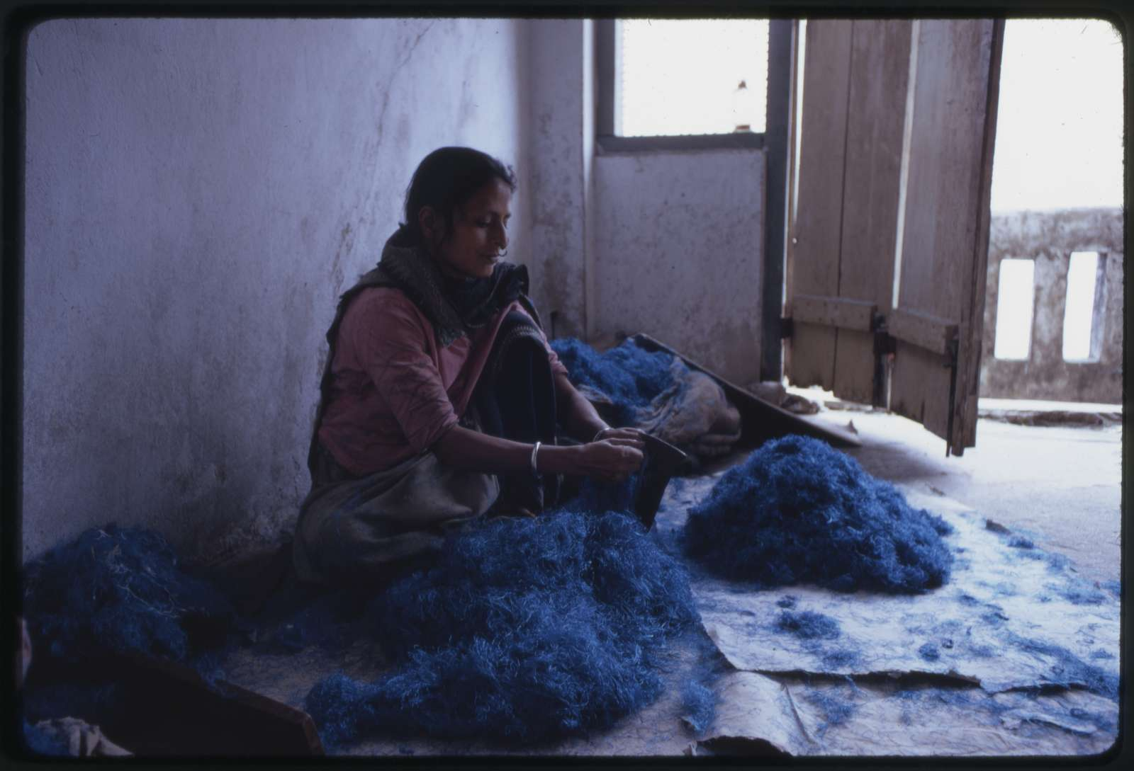 [Nepalese woman working with blue dyed wool, Sikkim]
