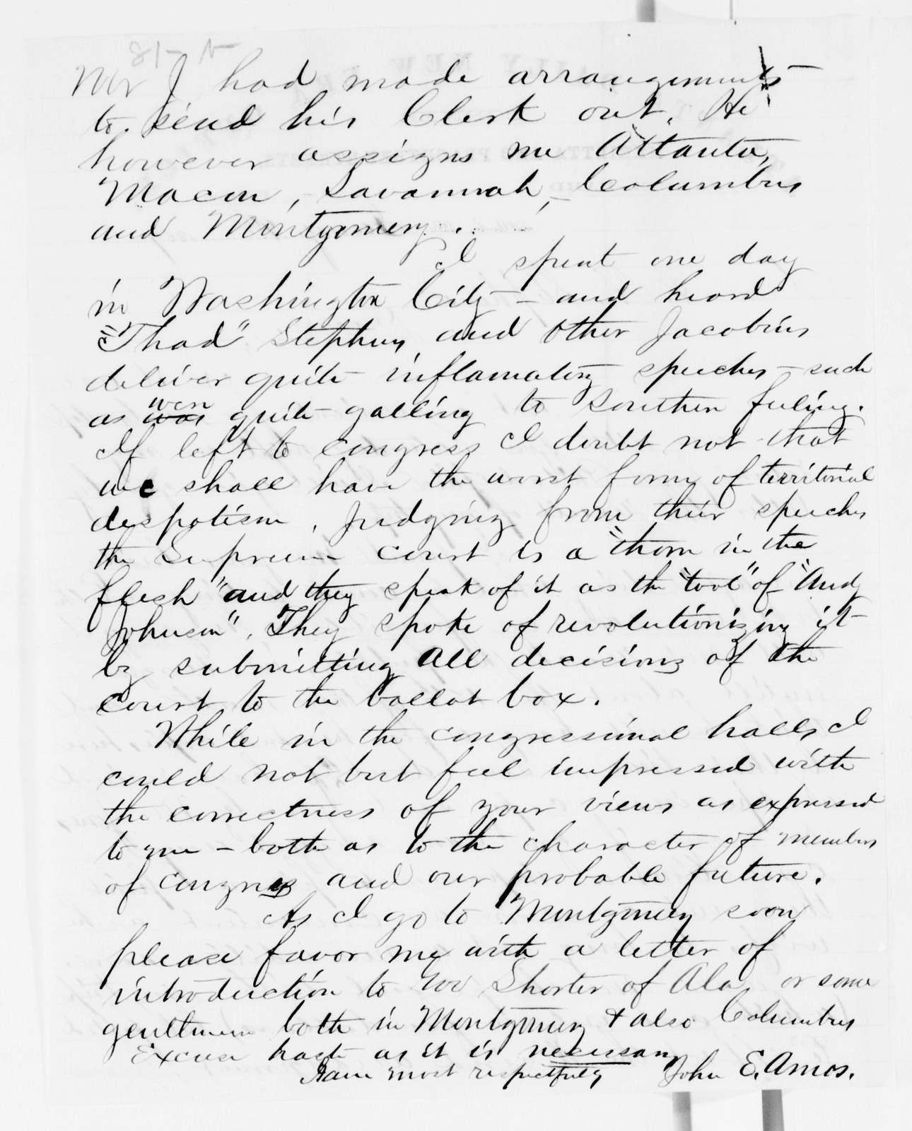 Alexander Hamilton Stephens Papers: General Correspondence, 1784-1886; 1867, Jan. 9-May 10