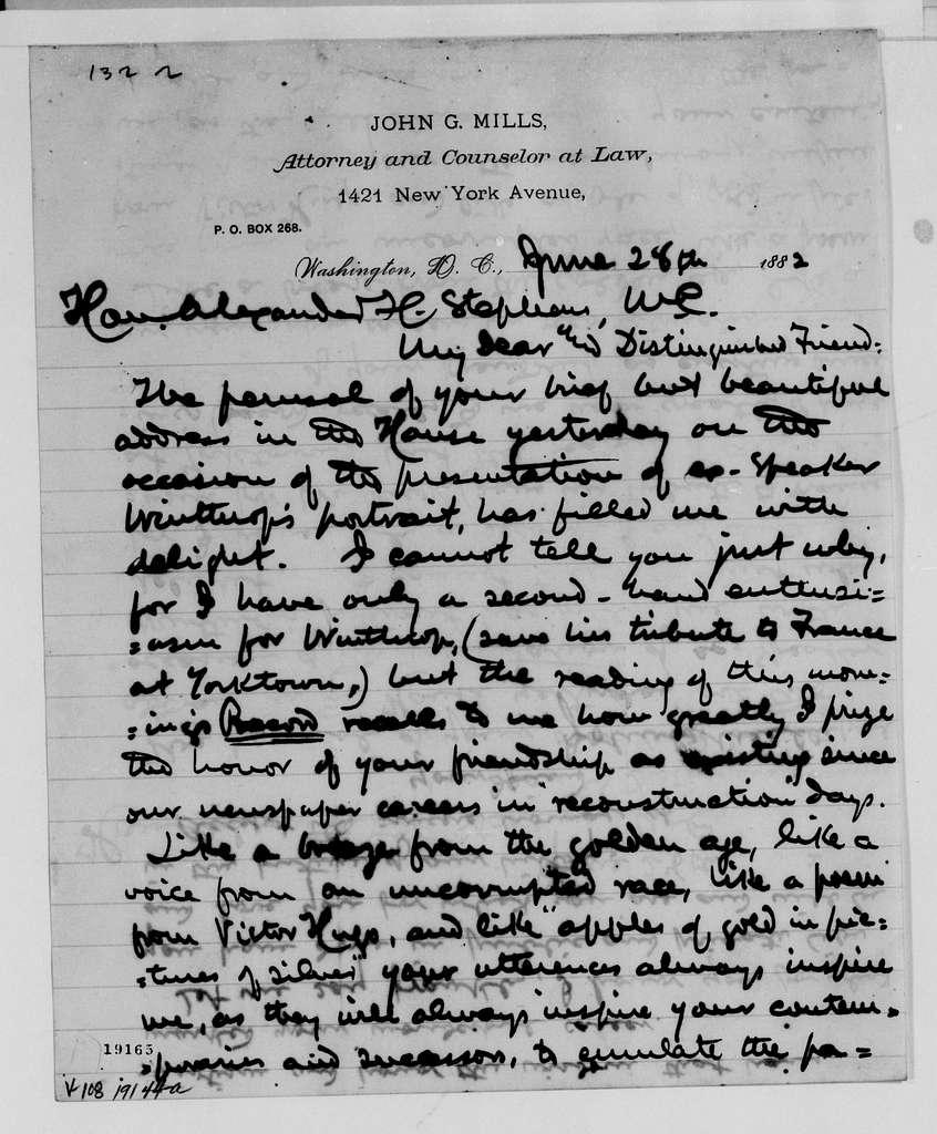 Alexander Hamilton Stephens Papers: General Correspondence, 1784-1886; 1882, Mar. 11-Aug. 11