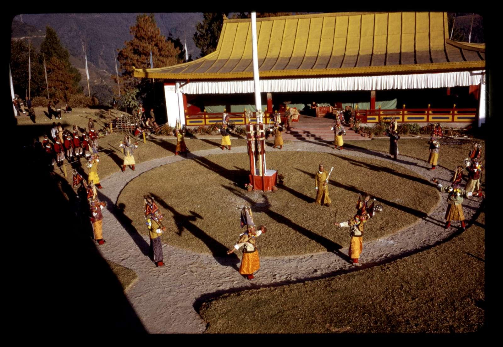 [Ceremonial warrior dance at New Year's event, Gangtok, Sikkim]