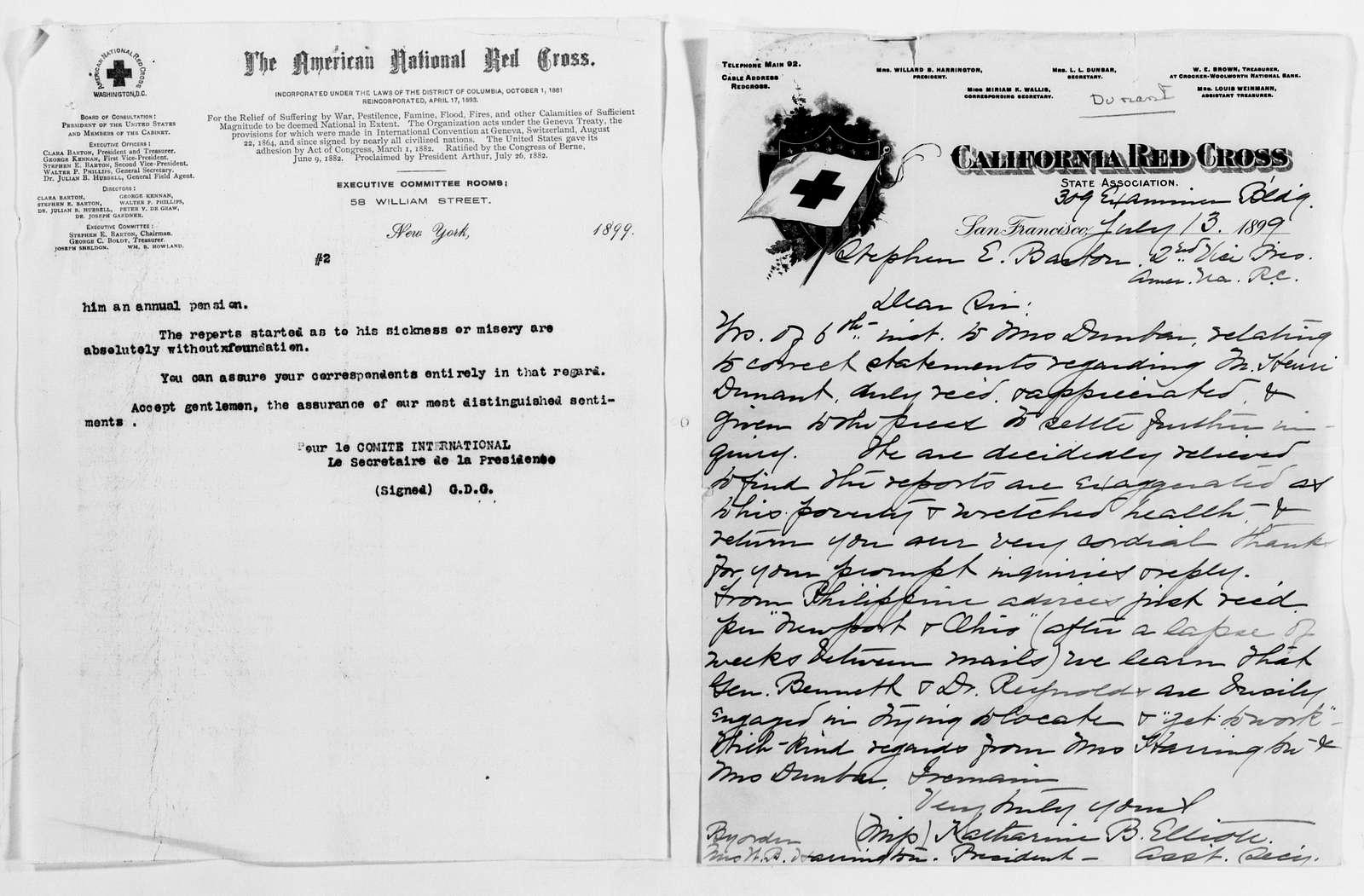 Clara Barton Papers: Subject File, 1861-1952; Dunant, Henri, 1899-1902