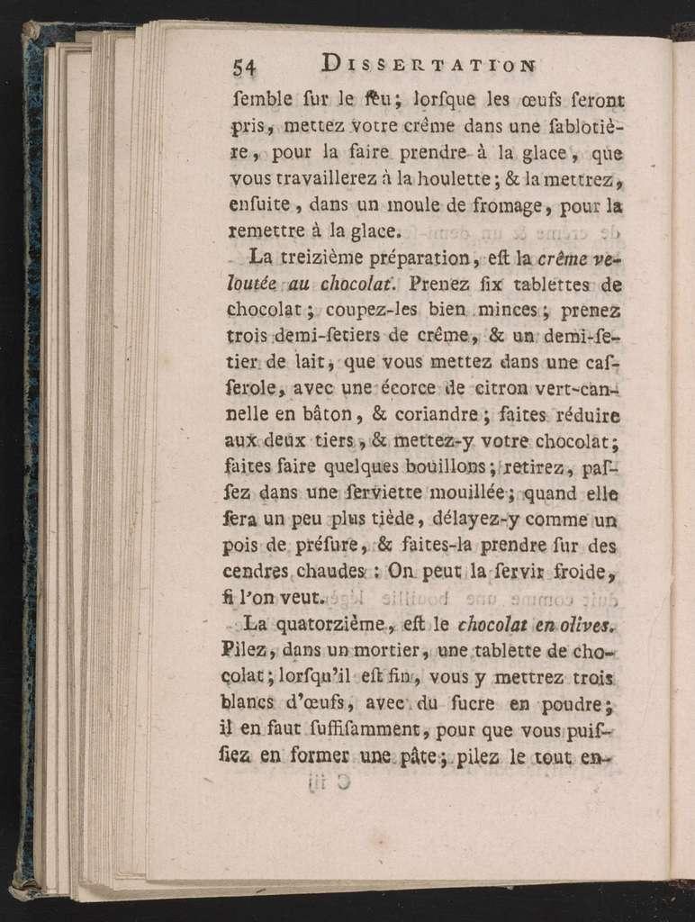Dissertation sur le cacao.