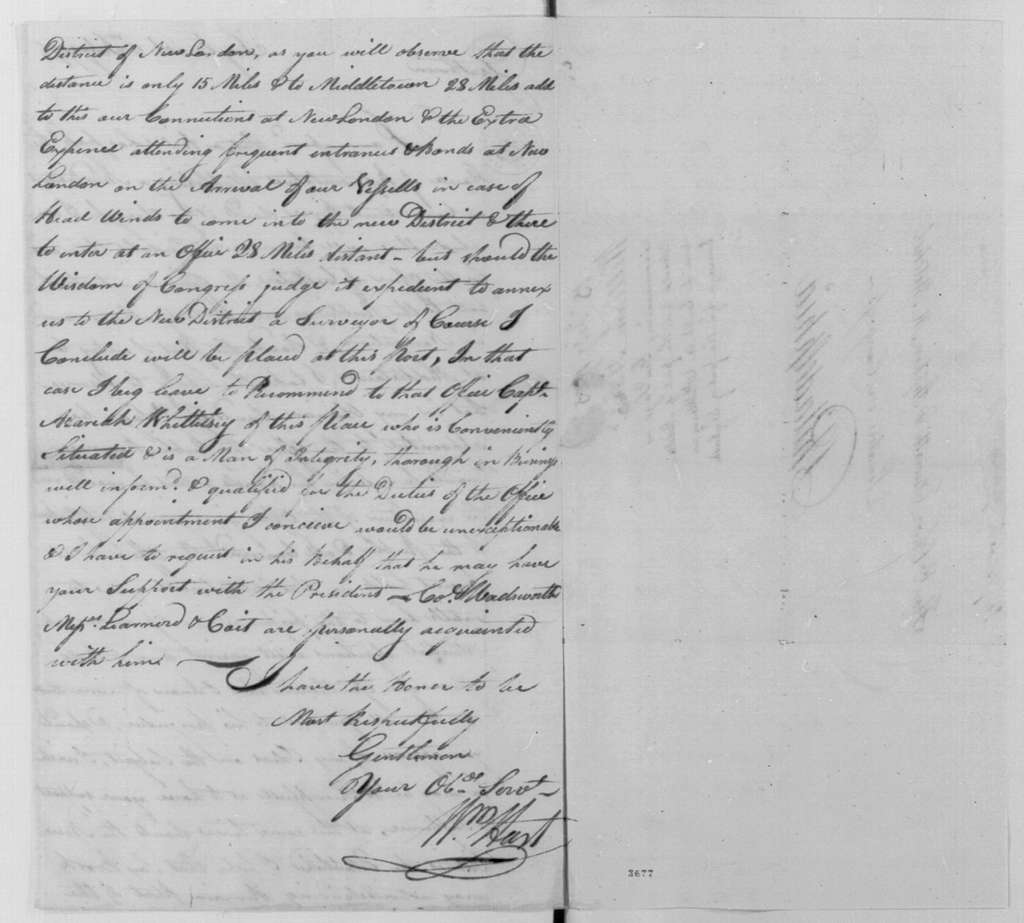 George Washington Papers, Series 7, Applications for Office, 1789-1796: Comfort Sage