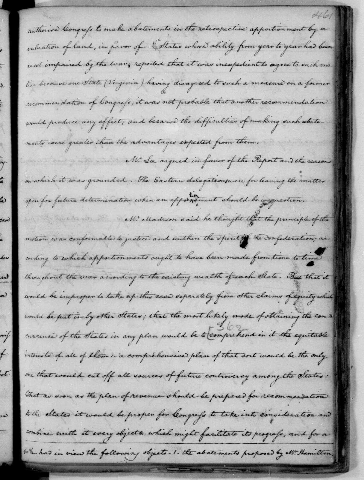 November 4, 1782. John C. Payne's copy of James Madison's Notes of the Continental Congress Debates.