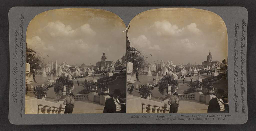On the steps of the west lagoon, Louisiana Purchase Exposition, St. Louis, Mo., U. S. A.