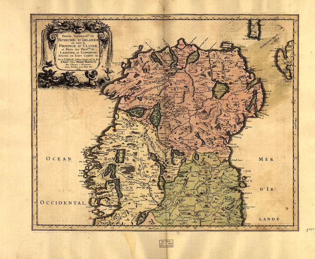 Partie septentr, le du royaume d'Irlande, ou sont la province d'Ulster, et partie des prov.ces [sic] de Leinster, et Connaugh.