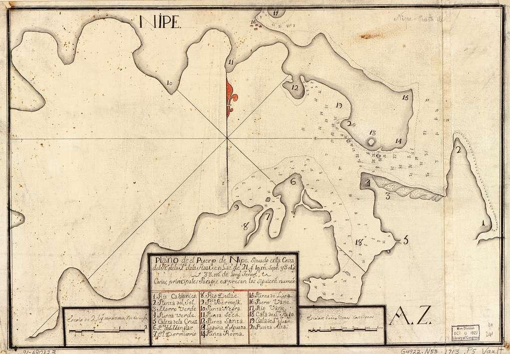 Plano de el Puerto de Nipe situado en la costa del N. de la ya. de la Hava. en latd. de 21 gs. 10 ms. septl. y 301 gs. 33 ms. de longd., Tenerfe.