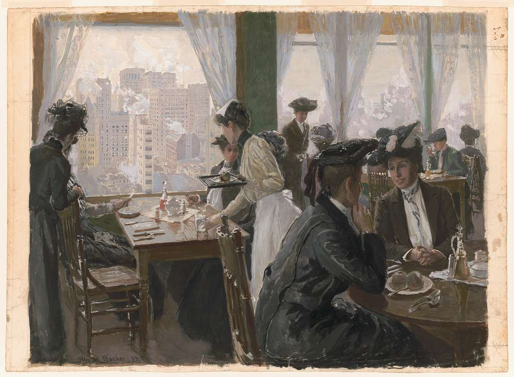 [Women in restaurant in high building]