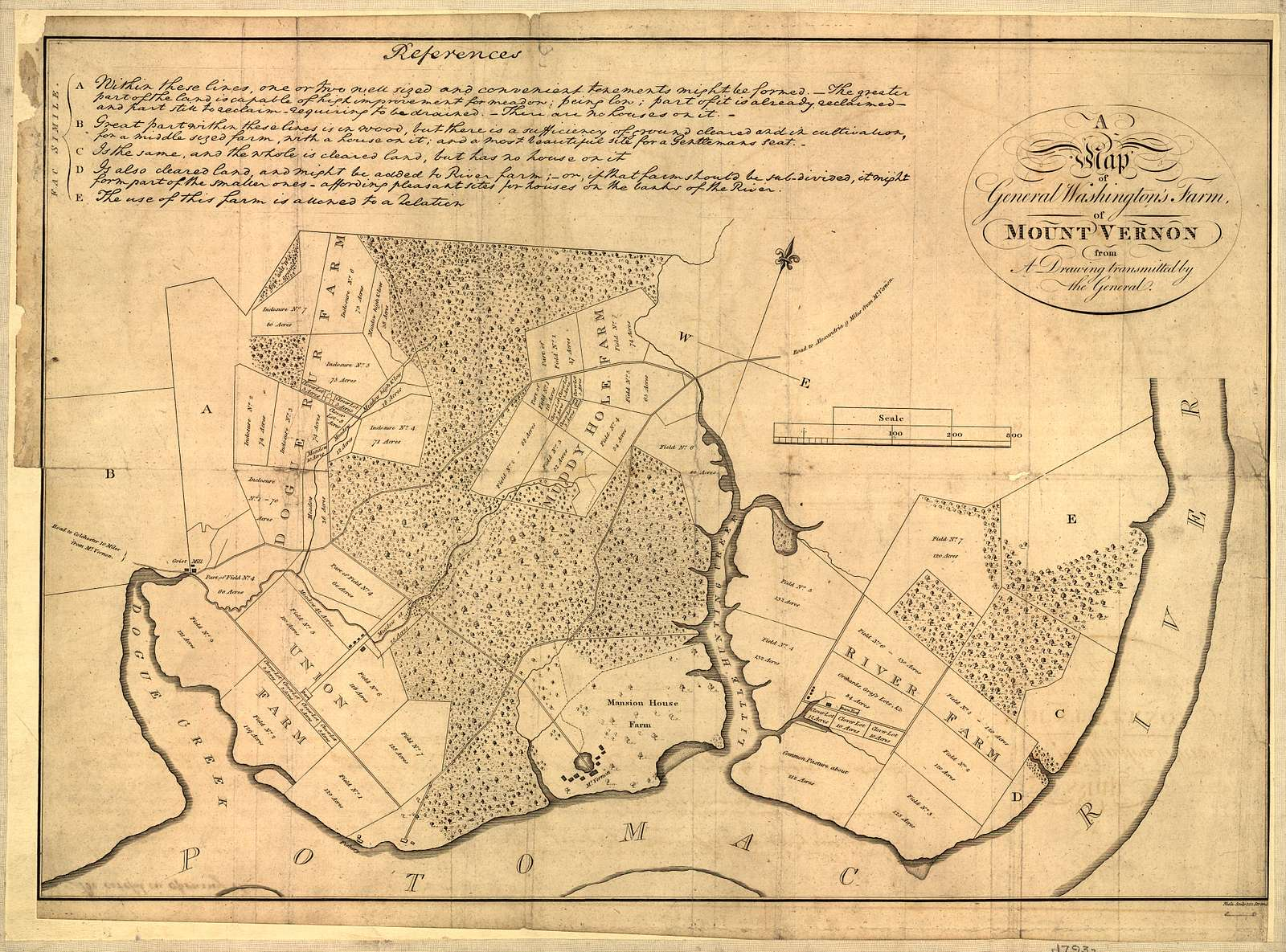 A map of General Washington's farm of Mount Vernon from a drawing transmitted by the General.