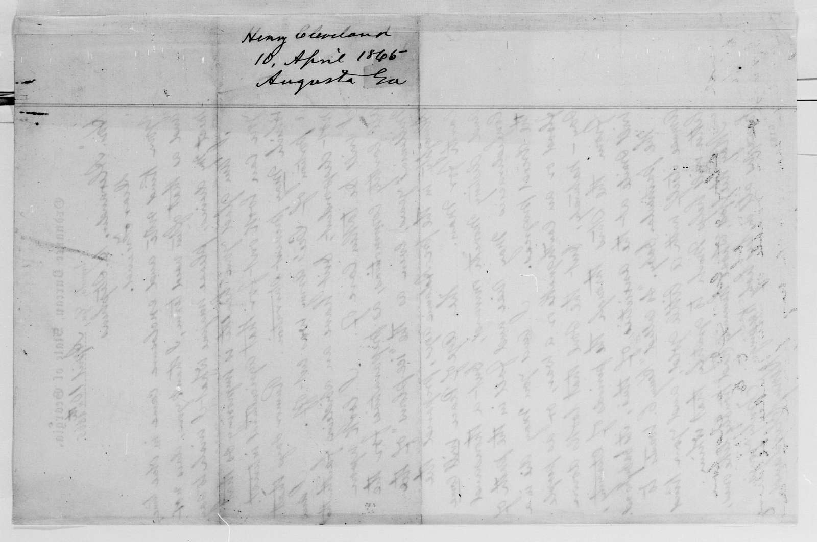 Alexander Hamilton Stephens Papers: General Correspondence, 1784-1886; 1864, Aug. 22-1865, May 25
