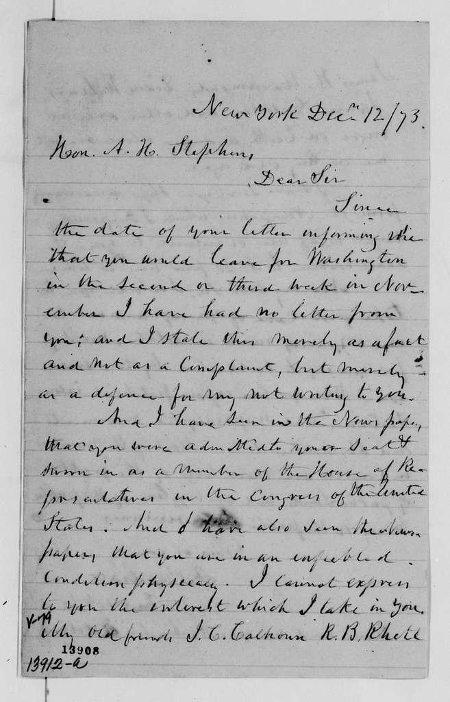 Alexander Hamilton Stephens Papers: General Correspondence, 1784-1886; 1873, Oct. 23-Dec. 15
