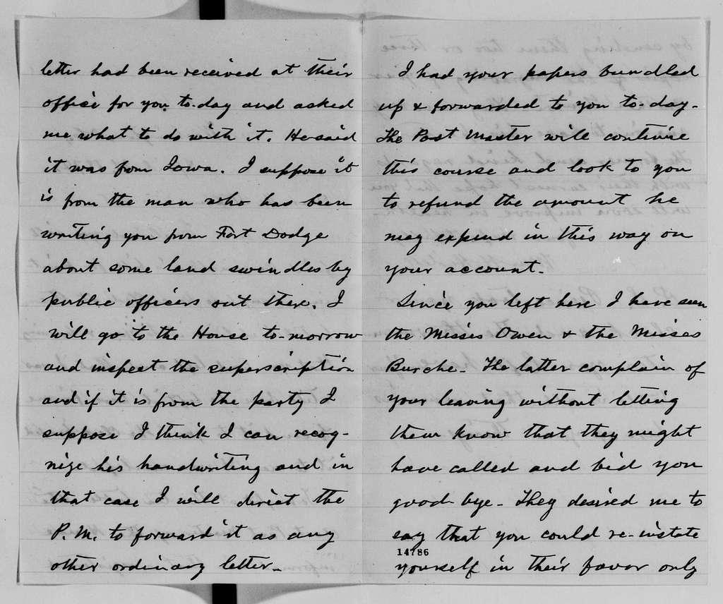Alexander Hamilton Stephens Papers: General Correspondence, 1784-1886; 1874, Mar. 30-May 15