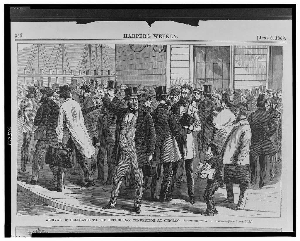 Arrival of the delegates to the Republican convention in Chicago / sketched by W.B. Baird.