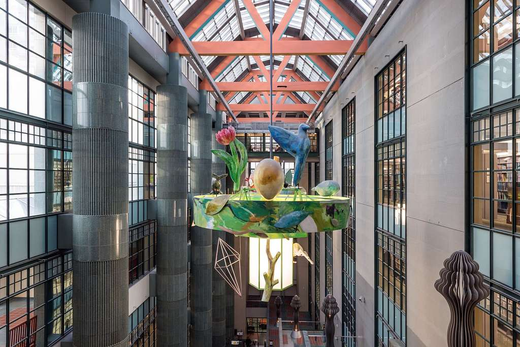 Atrium in a new wing of the Central Library in downtown Los Angeles, California, completed in 1993