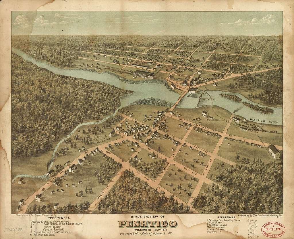 Bird's eye view of Peshtigo, Wisconsin Sept. 1871.