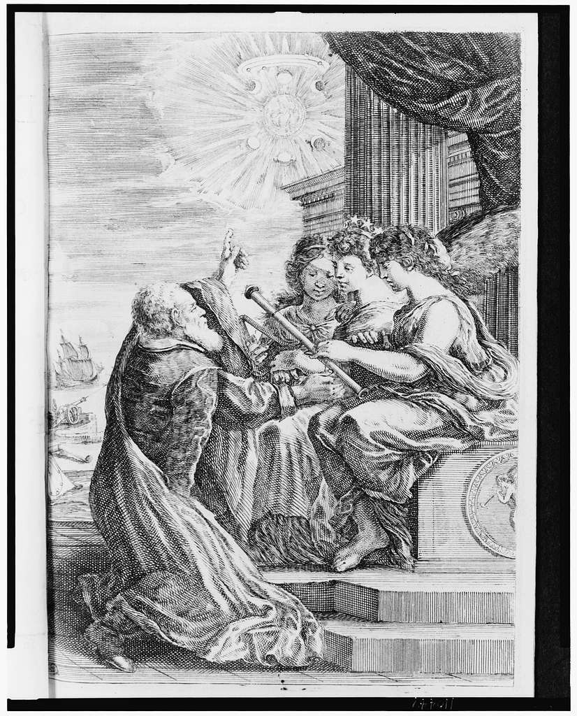 [Galileo offering his telescope to three women (possibly Urania and attendants) seated on a throne; he is pointing toward the sky where some of his astronomical discoveries are depicted]