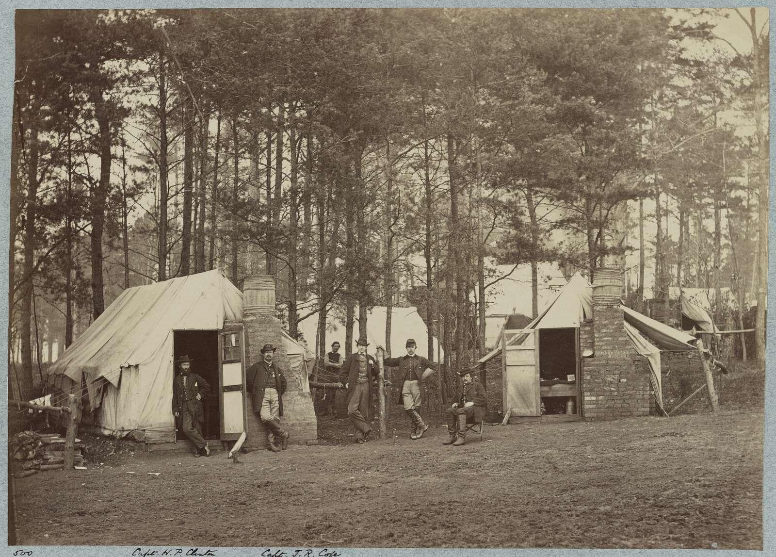 Headquarters Army of Potomac - Brandy Station, Va. April 1864. Quarters of Provost Marshal Department. Capt. H. P. Clinton. Capt. J. R. Coxe