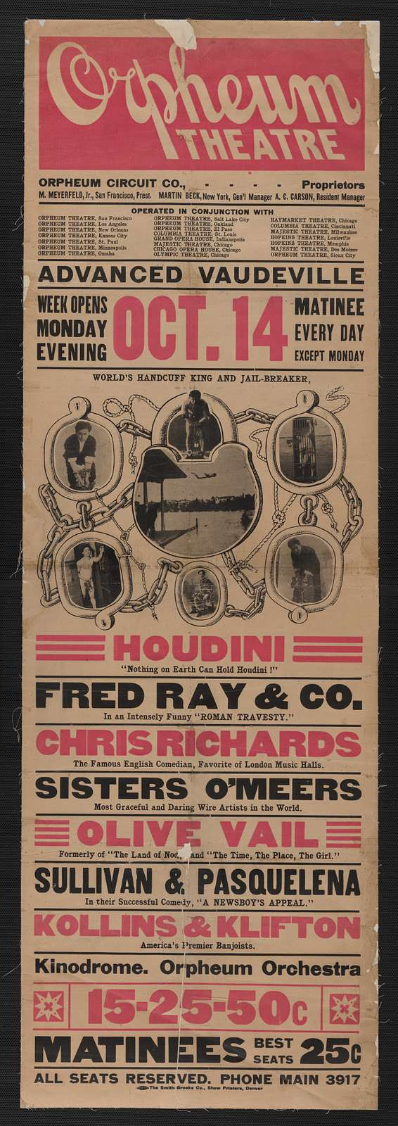 """Houdini, nothing on earth can hold Houdini! Fred Ray & Co. in an intensely funny """"Roman travesty"""" ...."""