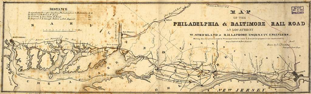 Map of the Philadelphia & Baltimore Rail Road as located by W. Strickland & B. H. Latrobe, Esqrs., civ. engineers. Showing also the present route by steamboat & the N. Castle R. Road, & that proposed to be constructed by way of Oxford & Port-Deposit.