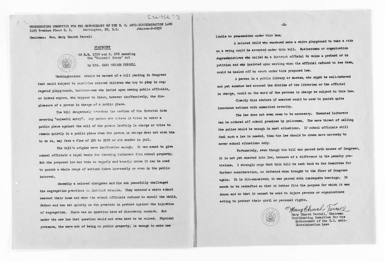 Mary Church Terrell Papers: Subject File, 1884-1962; Coordinating Committee for the Enforcement of the D.C. Anti-Discrimination Laws, Washington, D.C., 1949-1954; Miscellaneous, 1949-1954