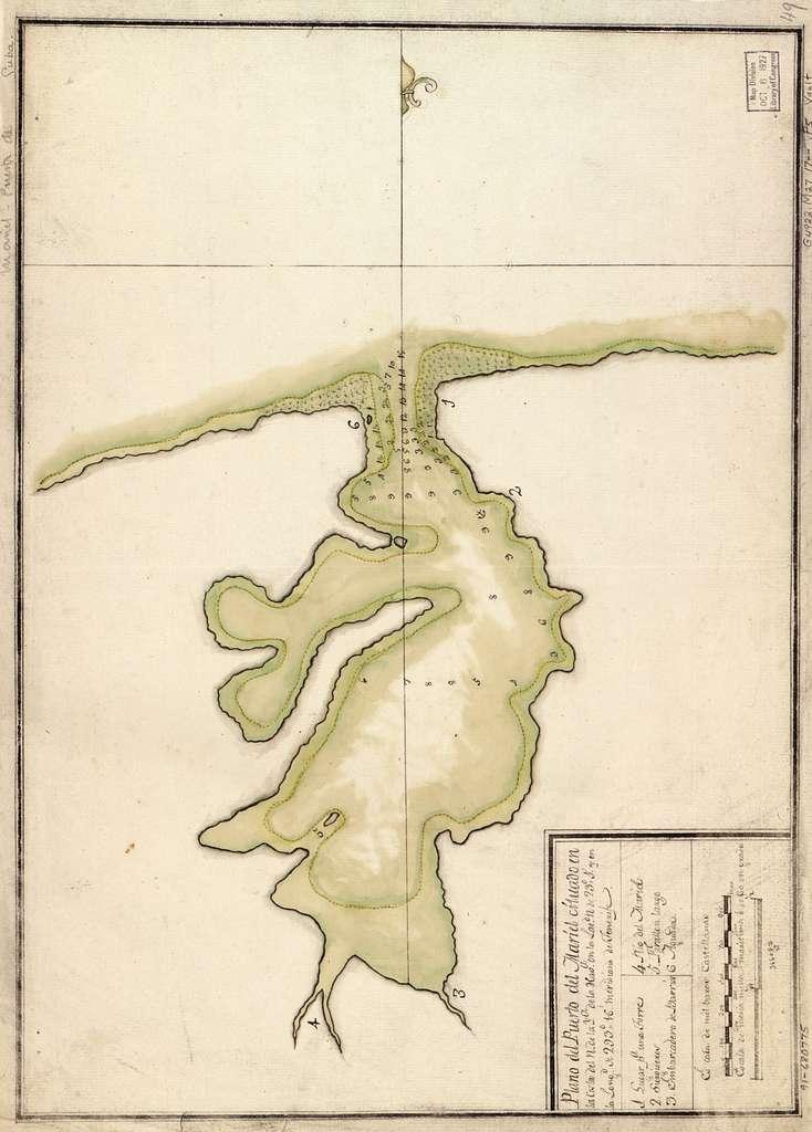 Plano del Puerto del Mariel cituado en la costa del N. de la ya. de la Hava. en la latd. N. de 23⁰5ʹ y en la longd. de 293⁰16ʹ, meridiano de Tenerife.
