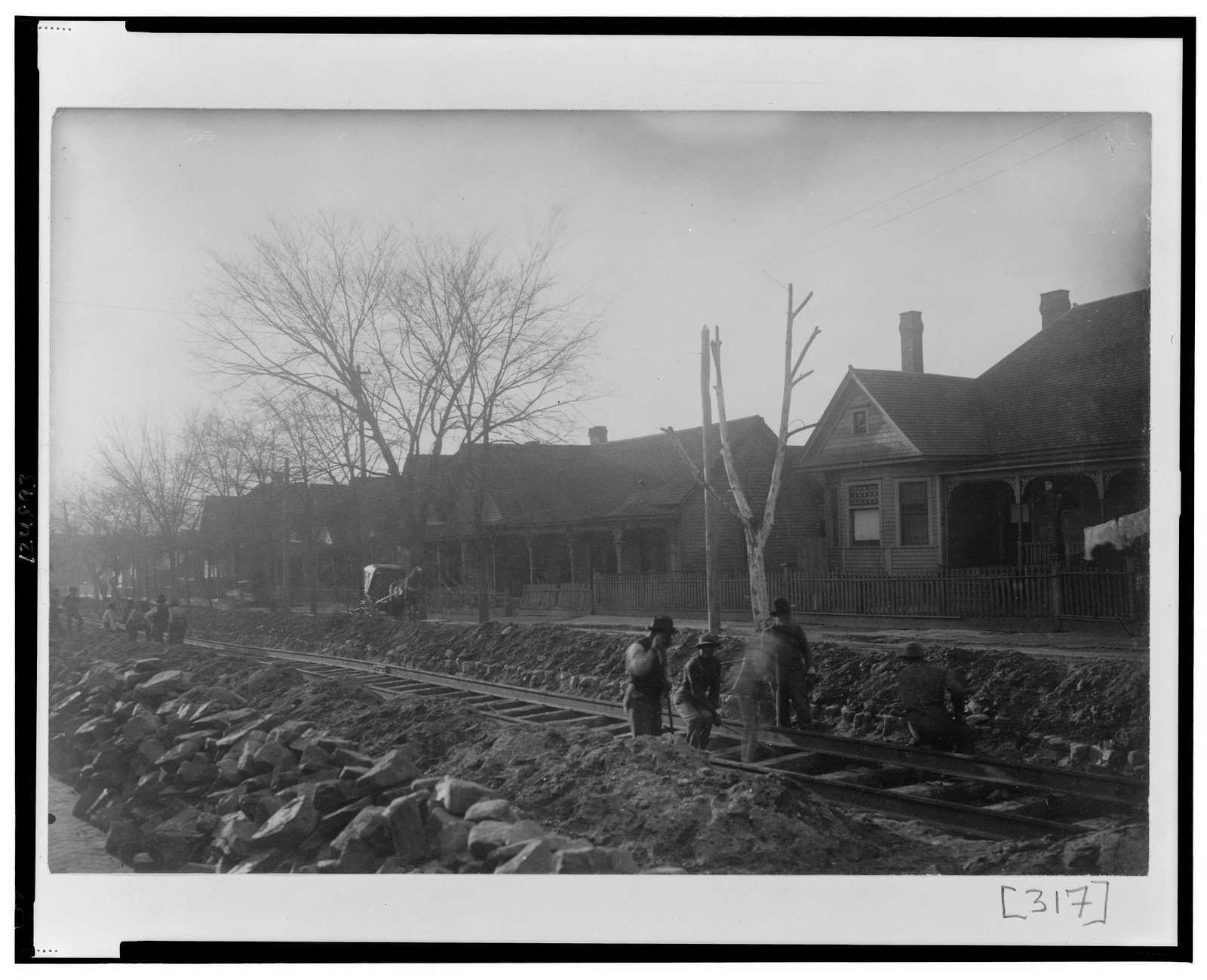 [Railroad construction through residential area in Georgia]