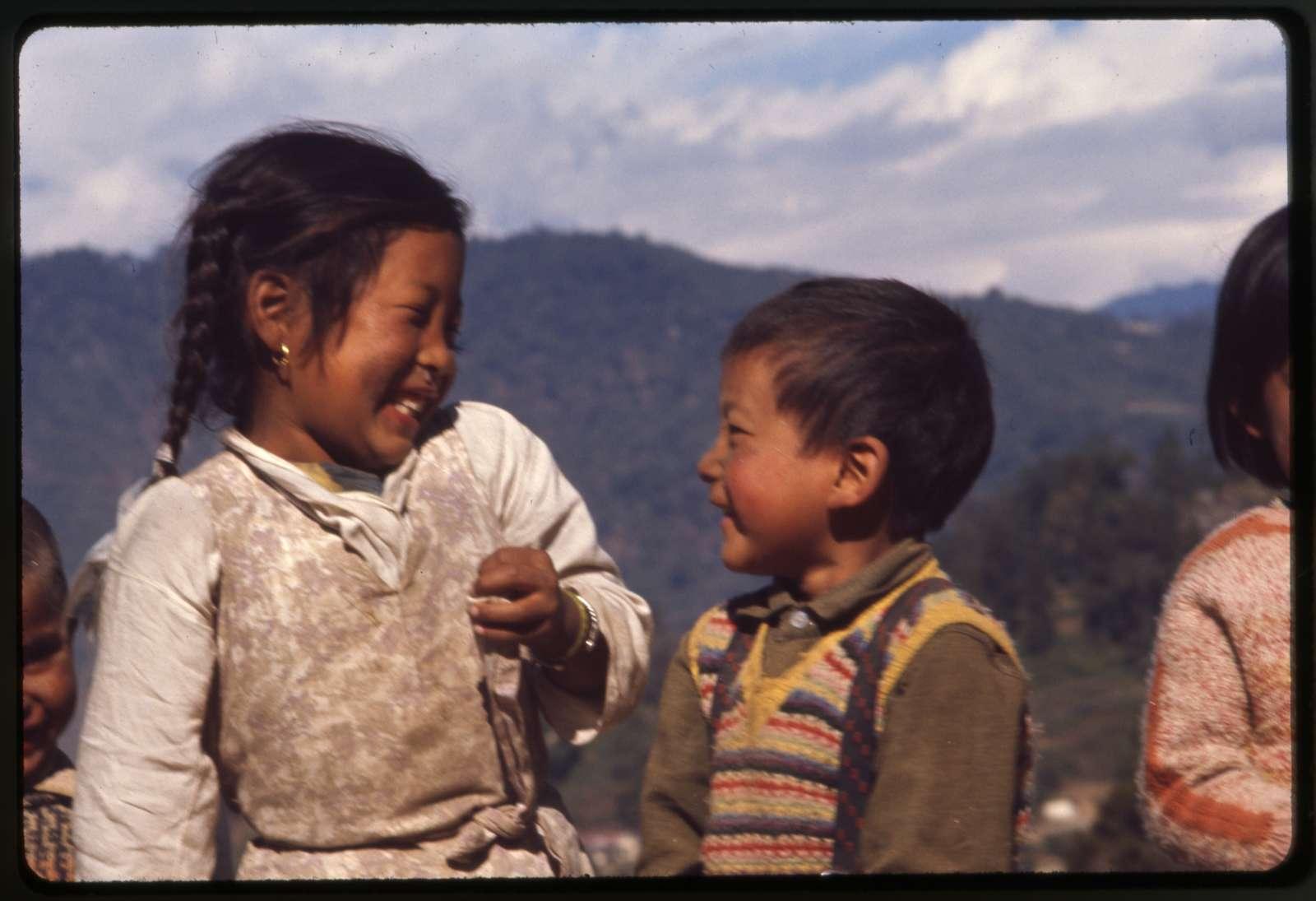 [Smiling schoolchildren in Gangtok, Sikkim]