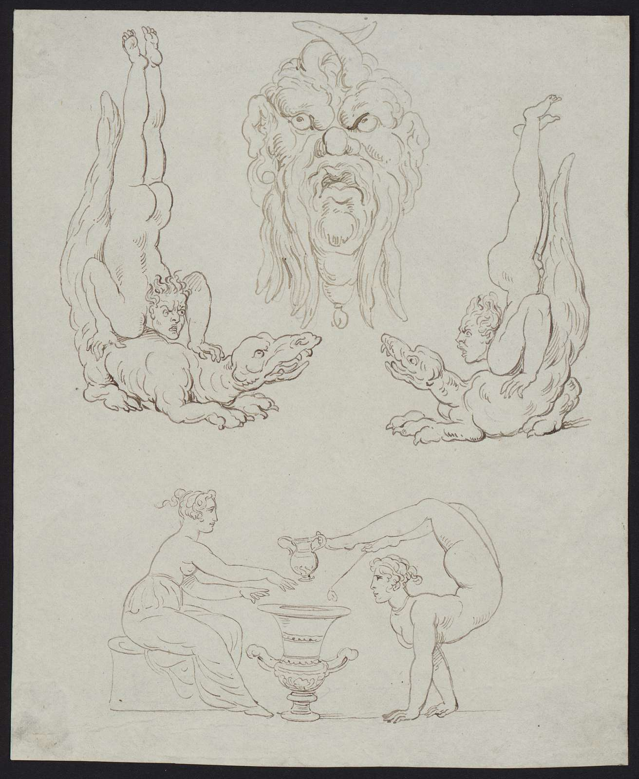 [Study drawings of monsters, men, and acrobats]