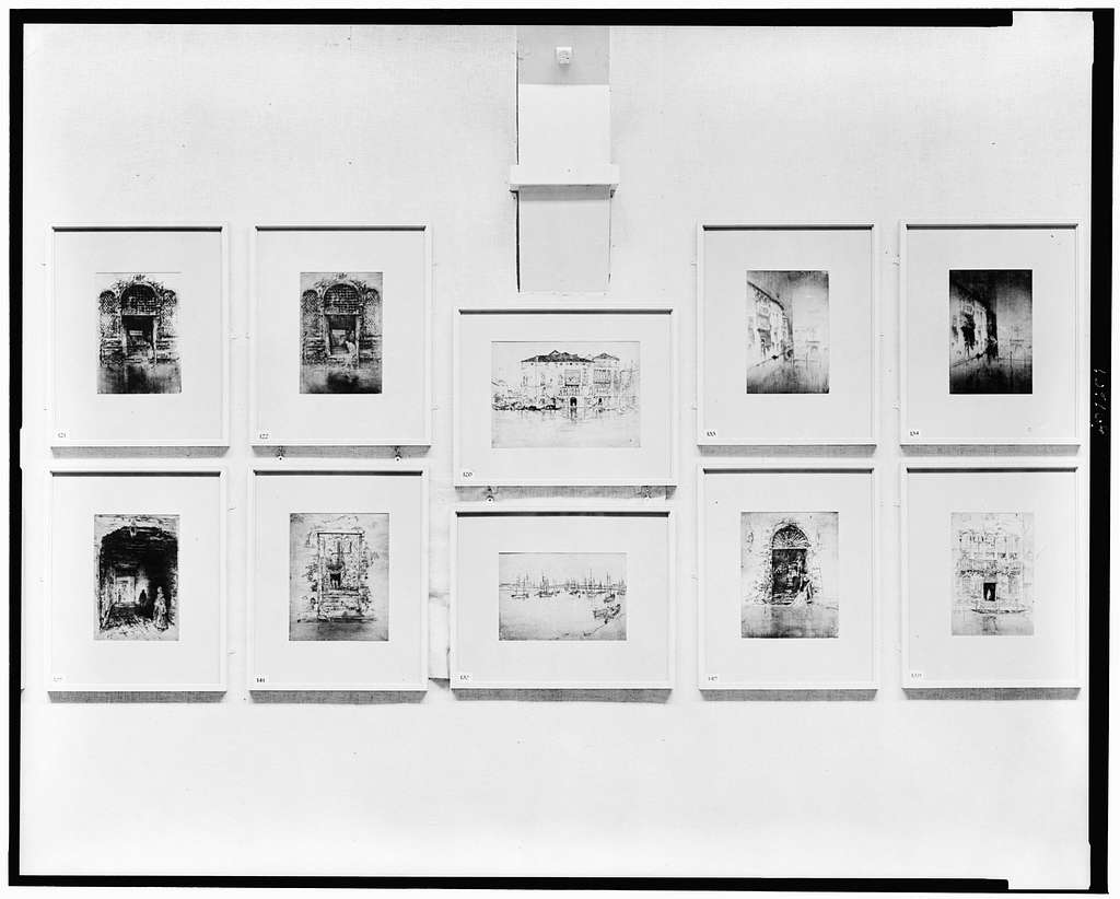 [Ten prints by James McNeill Whistler on display at Boston Memorial exhibition, Copley Hall] / T.E. Marr.