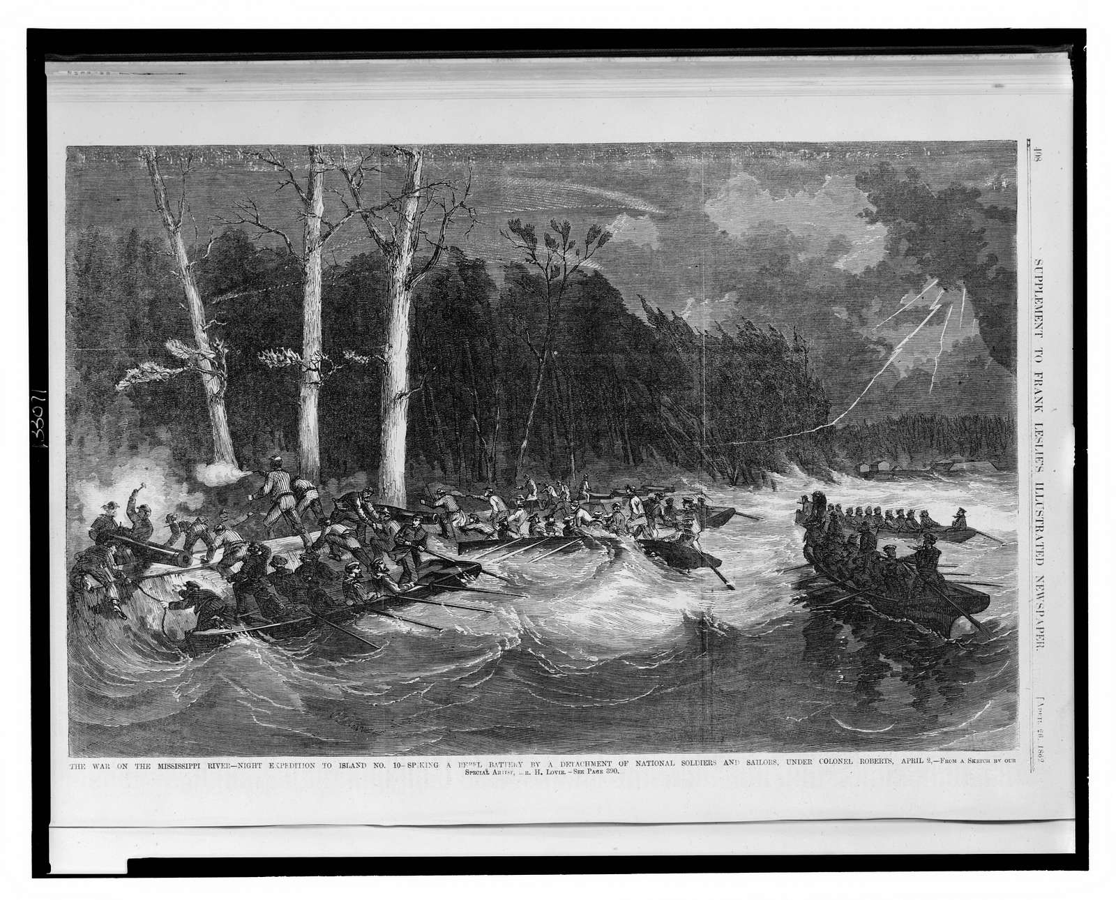 The war on the Mississippi River - night expedition to island no. 10 ... / from a sketch by our special artist, Mr. H. Lovie.