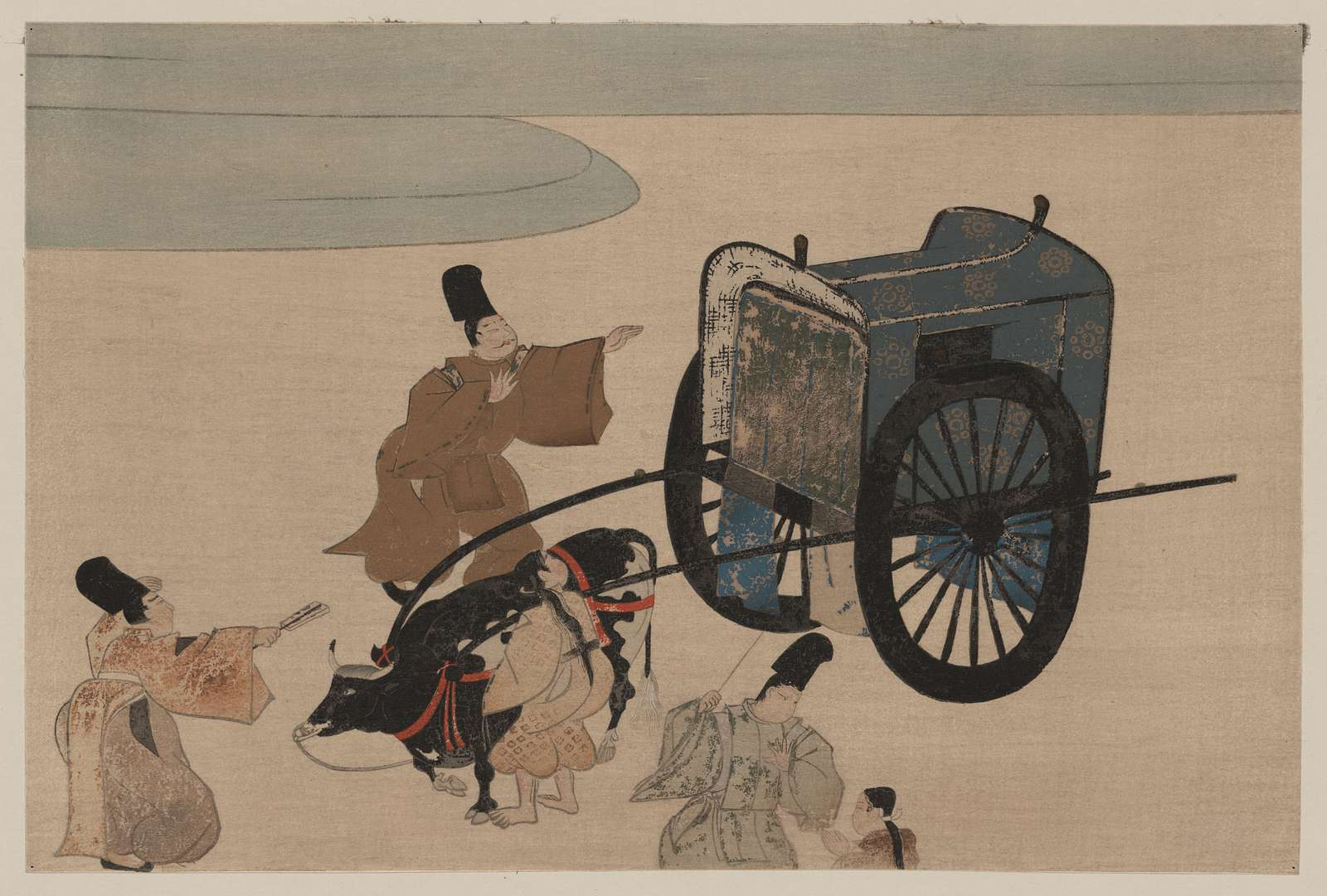 [Three men, possibly court officials, and two girls with a two-wheeled ox-cart]