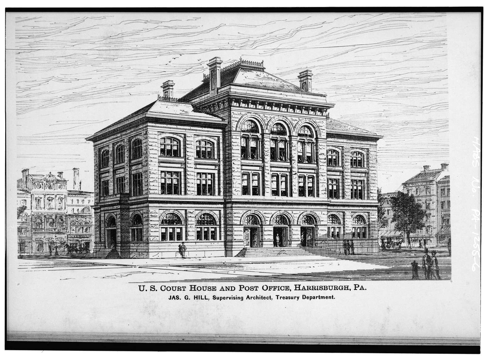 United States Post Office & Courthouse, Third & Walnut Streets, Harrisburg, Dauphin County, PA