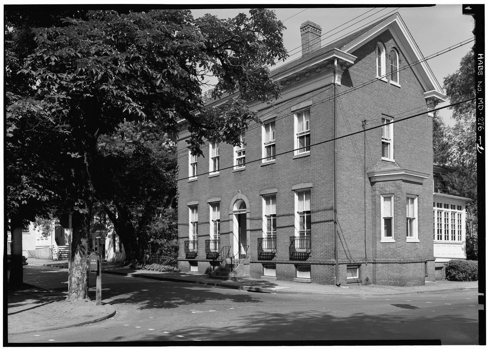 Walton H. Hopkins House, 15 Maryland Avenue & King George Street, Annapolis, Anne Arundel County, MD
