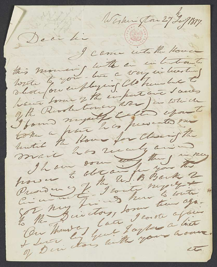 William Henry Harrison Papers: Series 5, Additions, 1793-1841; 1979 Addition; Correspondence; Originals, 1817-1818 , 1836-1840 , 1888