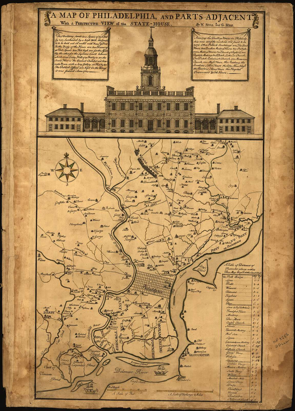 A map of Philadelphia and parts adjacent : with a perspective view of the State-House /