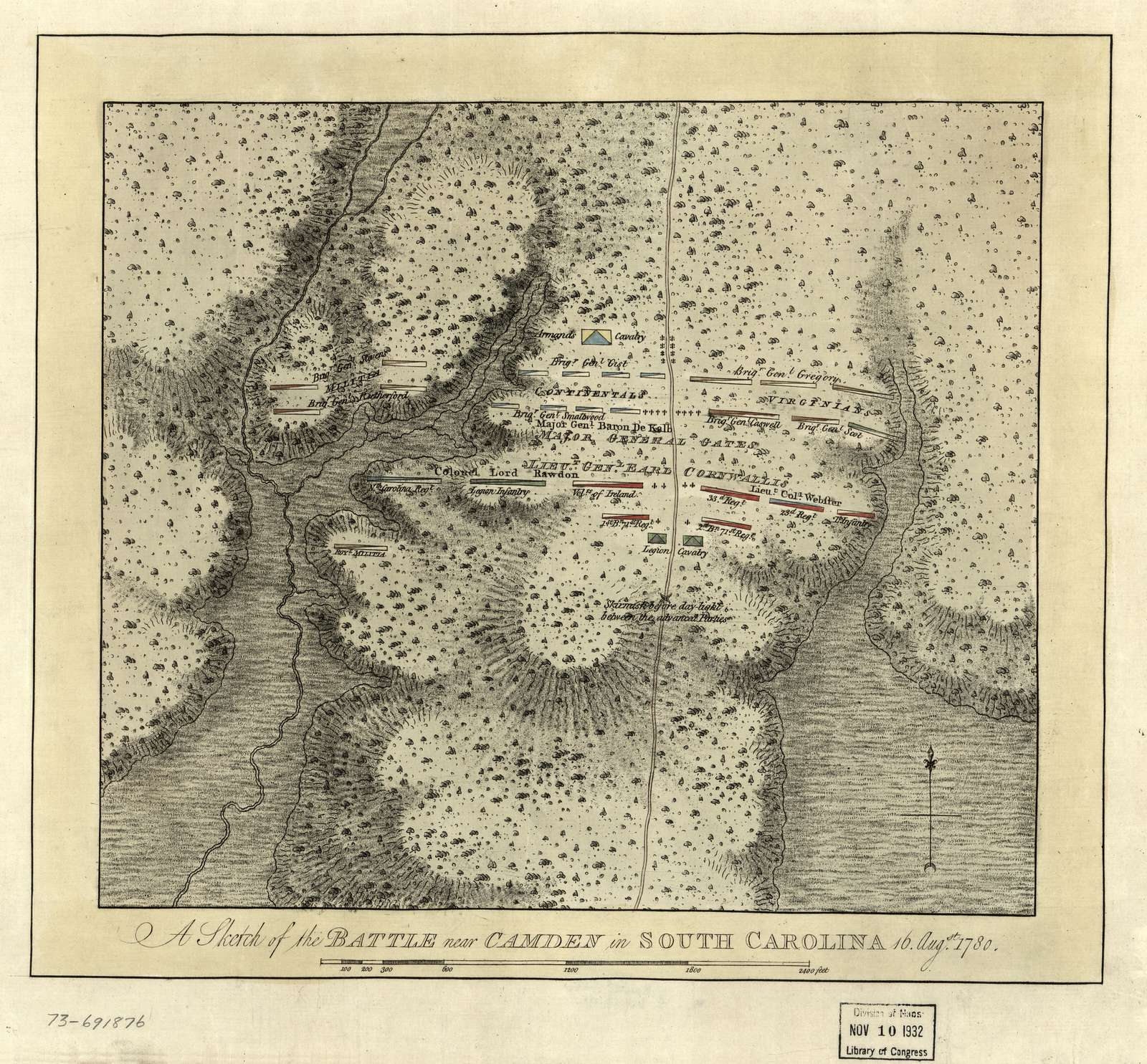 A sketch of the battle near Camden in South Carolina, 16 Augst. 1780.