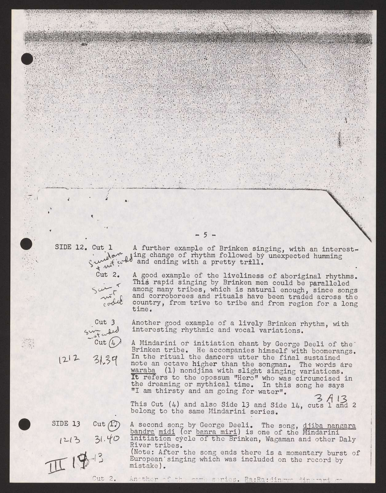 Alan Lomax Collection, Manuscripts, Performance style, Global Jukebox, WS24.37- (12)