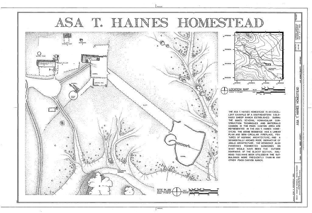Asa T. Haines Homestead, 8 miles east of U.S. Highway 350, Model, Las Animas County, CO