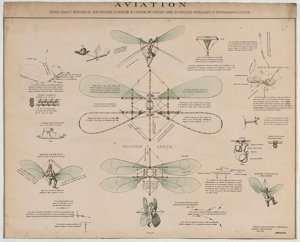 Aviation, études, essais et inventions qui, sans résourdre le problème de l'aviation, ont pourtant donné des résultats intéresssants et encourageants à l'auteur / dédié par l'auteur aux chercheurs, expérimentateurs, inventeurs et amis de l'aviation, aoùt 1866, Bourcart.