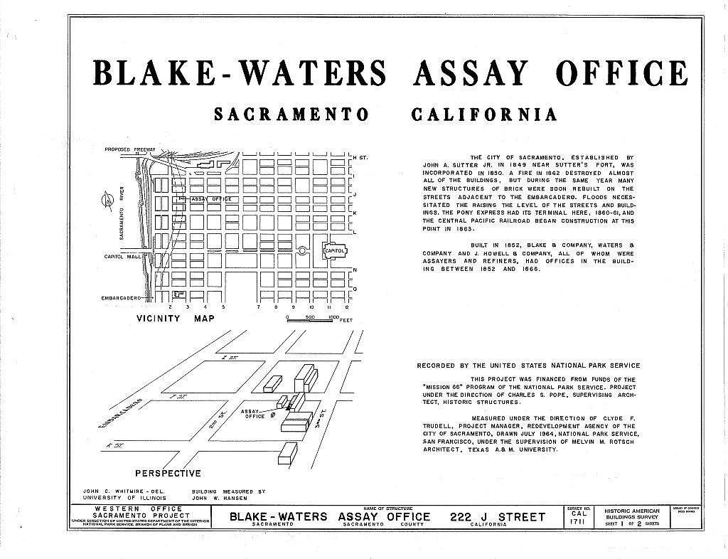 Blake-Waters Assay Office, 222 J Street, Sacramento, Sacramento County, CA