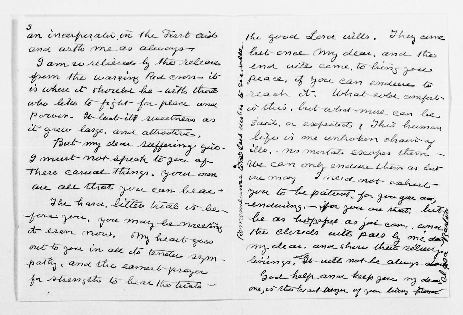 Clara Barton Papers: General Correspondence, 1838-1912; Halstead, Leonora B., 1890-1911, undated
