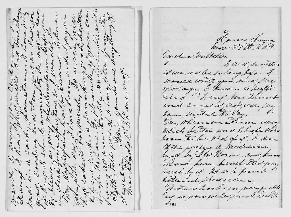 Gideon Welles Papers: Miscellany, 1777-1911; Welles, Mary Hale, correspondence, 1859-1883, undated