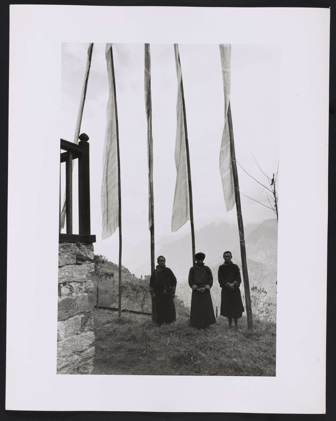 Lamas & prayer flags. Wind blows past the prayers and blesses the land as the wind passes