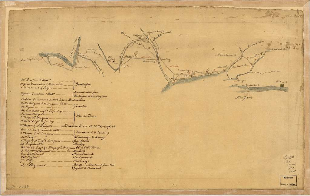 [Map of British outposts between Burlington and New Bridge, New Jersey, December 1776.
