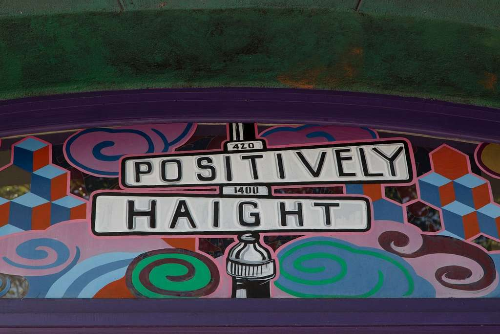 """Mural """"Positively Haight"""" in the Haight-Ashbury neighborhood, San Francisco, California"""