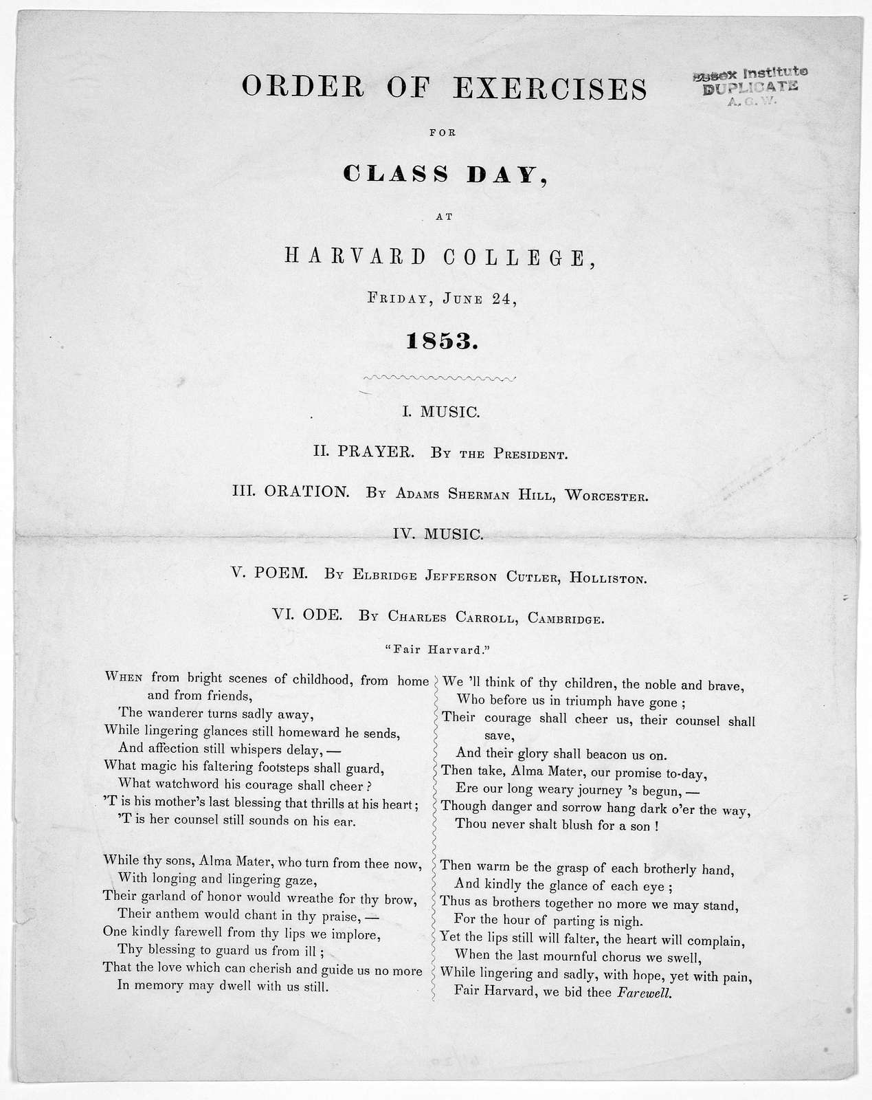 Order of exercises for class day, at Harvard College, Friday, June 24, 1853.