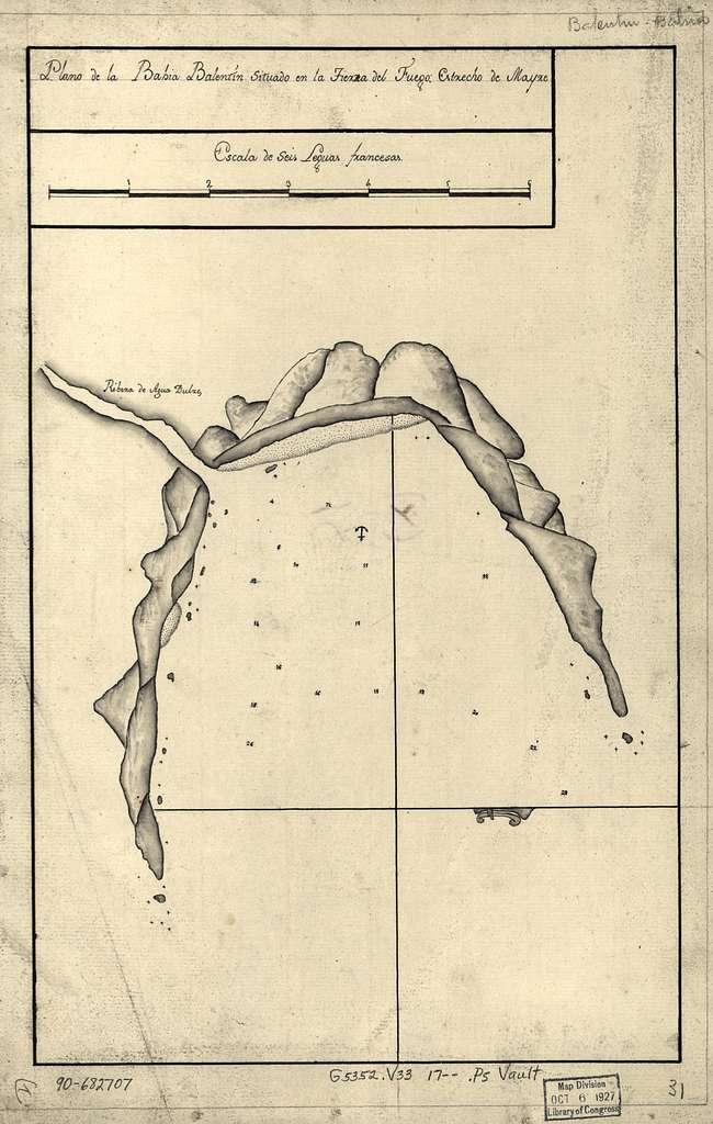 Plano de la Bahía Balentín situado en la Tierra del Fuego, Estrecho de Mayre.